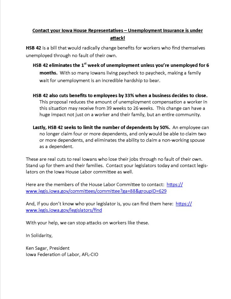 Iowa Unemployment alert 2019