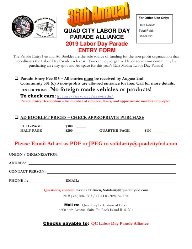 Labor Day Parade 2019 Entry Form PDF