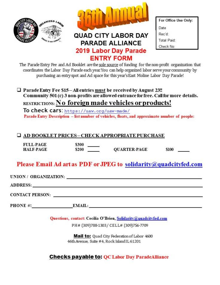 Labor Day Parade 2019 Entry Form FINAL